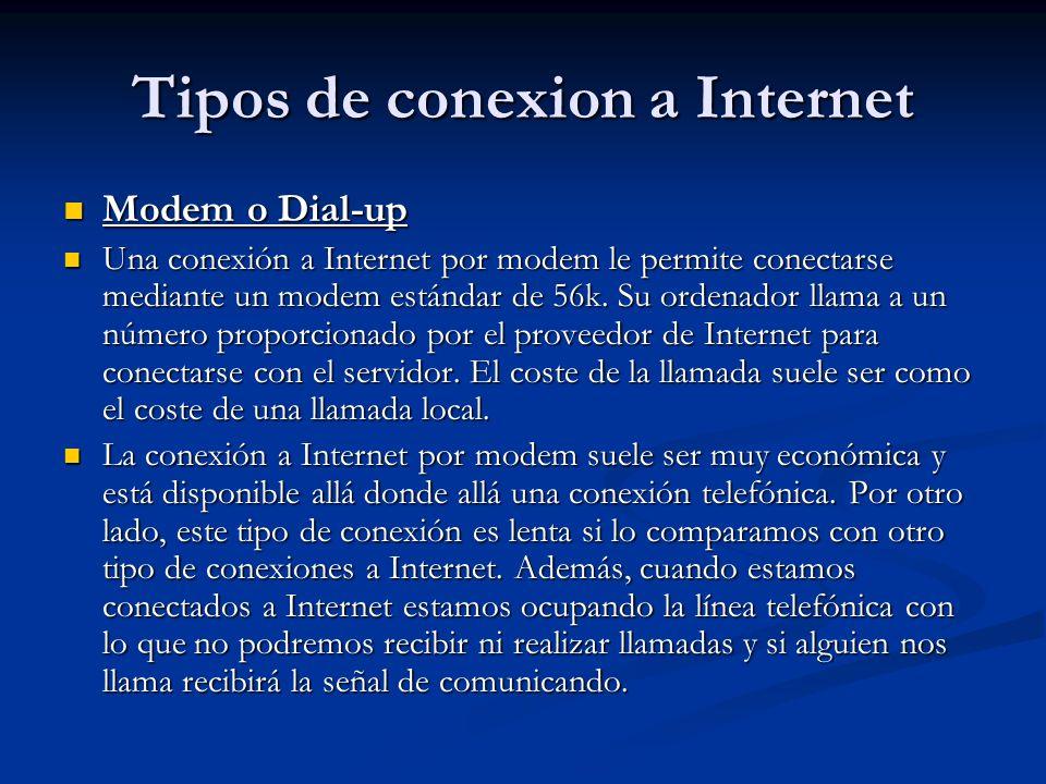 Tipos de conexion a Internet Modem o Dial-up Modem o Dial-up Una conexión a Internet por modem le permite conectarse mediante un modem estándar de 56k.