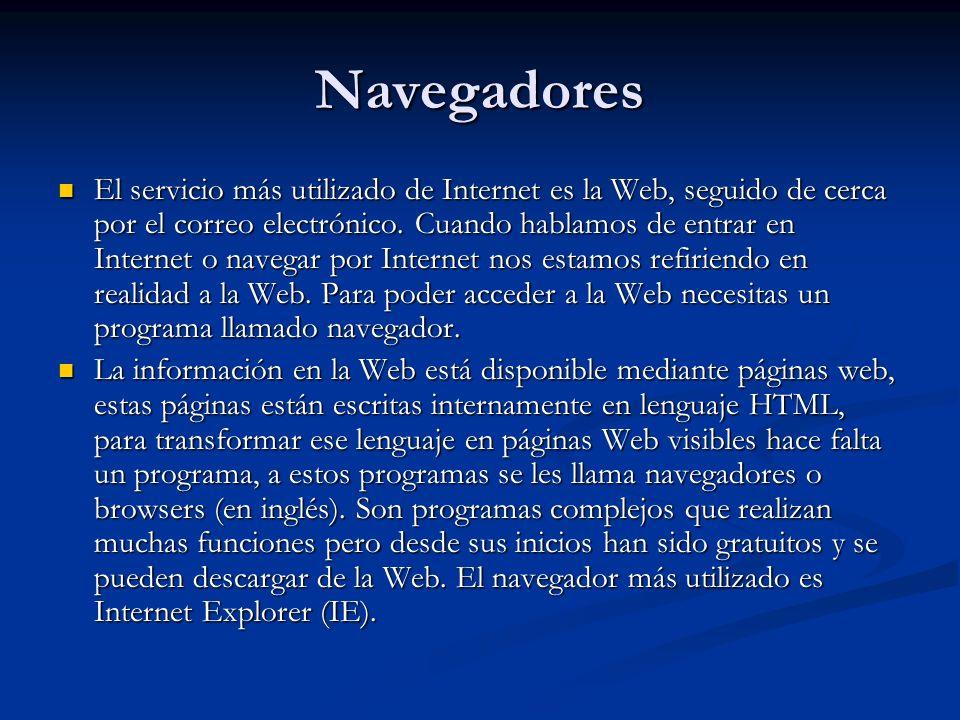Navegadores El servicio más utilizado de Internet es la Web, seguido de cerca por el correo electrónico.