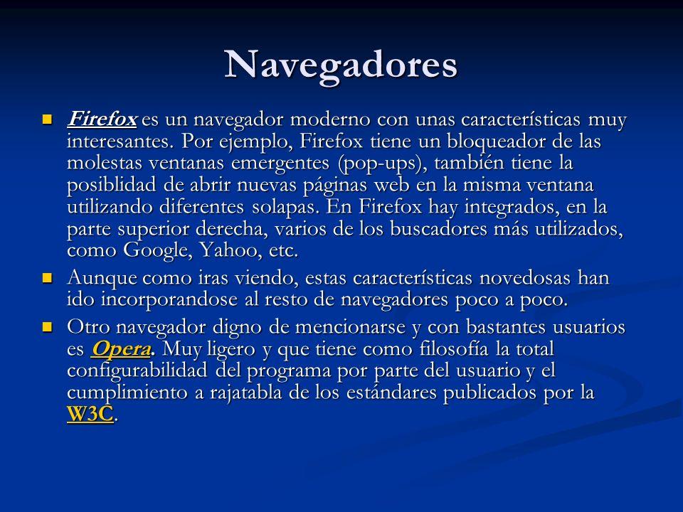 Navegadores Firefox es un navegador moderno con unas características muy interesantes.