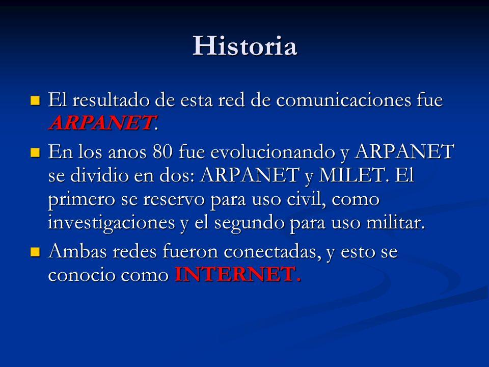 Historia El resultado de esta red de comunicaciones fue ARPANET.