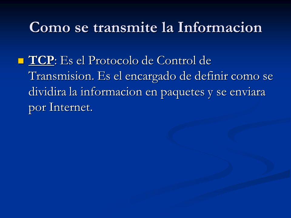 Como se transmite la Informacion TCP: Es el Protocolo de Control de Transmision.
