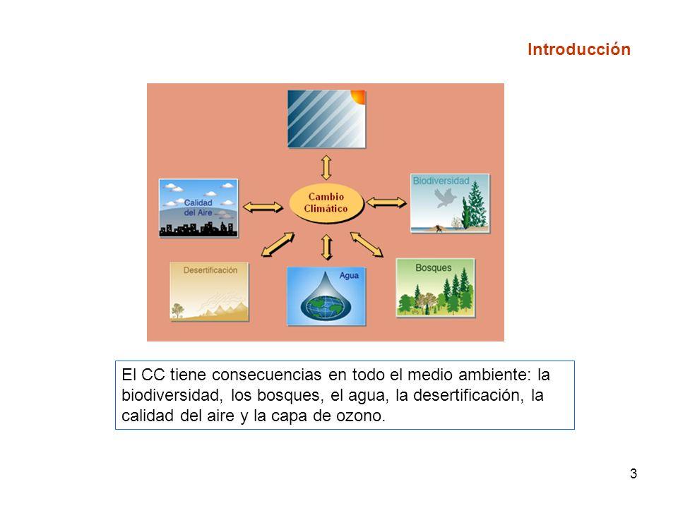 3 El CC tiene consecuencias en todo el medio ambiente: la biodiversidad, los bosques, el agua, la desertificación, la calidad del aire y la capa de ozono.