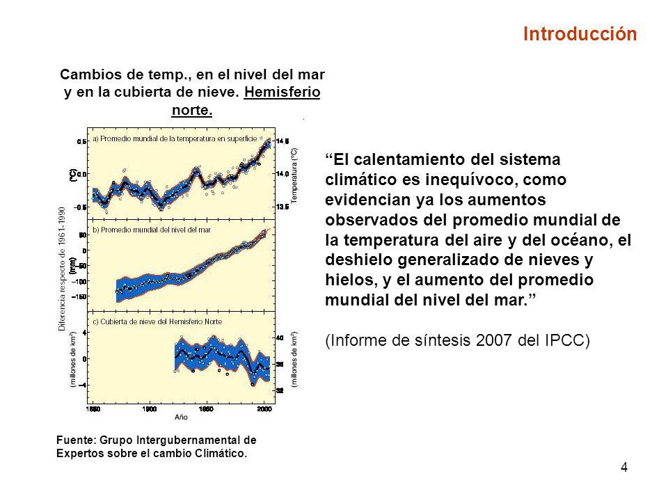 4 Cambios de temp., en el nivel del mar y en la cubierta de nieve.