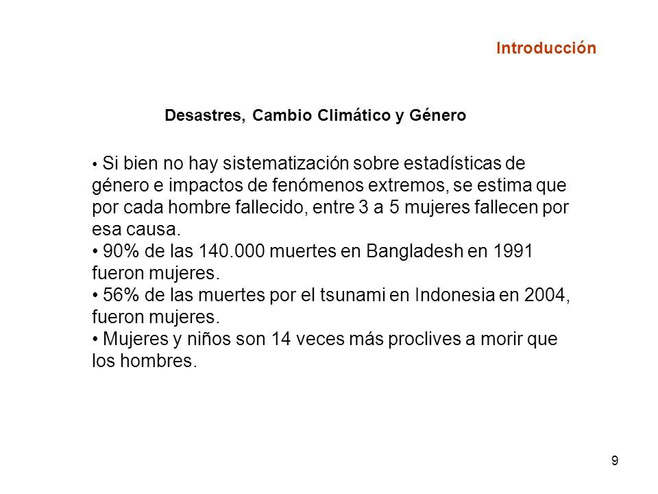 9 Desastres, Cambio Climático y Género Si bien no hay sistematización sobre estadísticas de género e impactos de fenómenos extremos, se estima que por cada hombre fallecido, entre 3 a 5 mujeres fallecen por esa causa.
