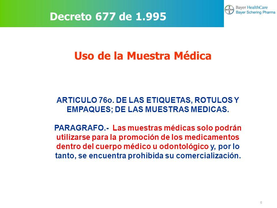 6 Prohibición de tener empaques vacíos Decreto 677 de 1.995 ARTICULO 77o.