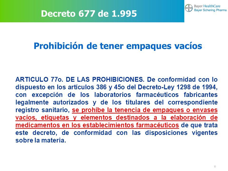 7 Prohibiciones para establecimientos Decreto 677 de 1.995 ARTICULO 77o.