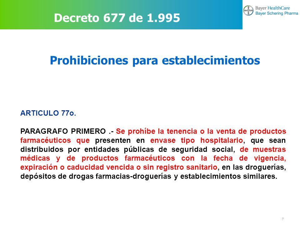 18 Legislación Establecimientos Farmacéuticos DECRETO 1950 DE 1.964 (julio 31) Por el cual se reglamenta la Ley 23 de 1962.