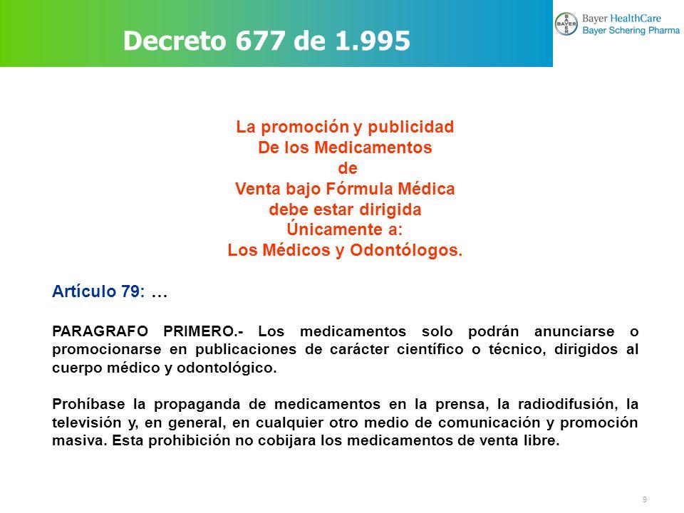 10 Que esta prohibido para publicidad Decreto 677 de 1.995 ARTICULO 79o.