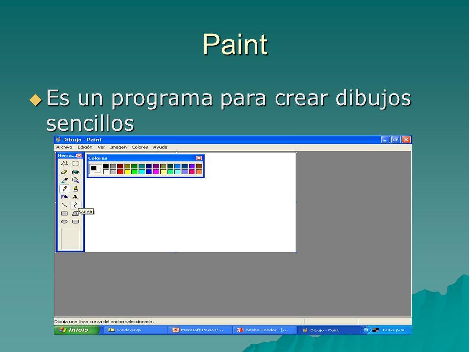 Paint Es un programa para crear dibujos sencillos Es un programa para crear dibujos sencillos