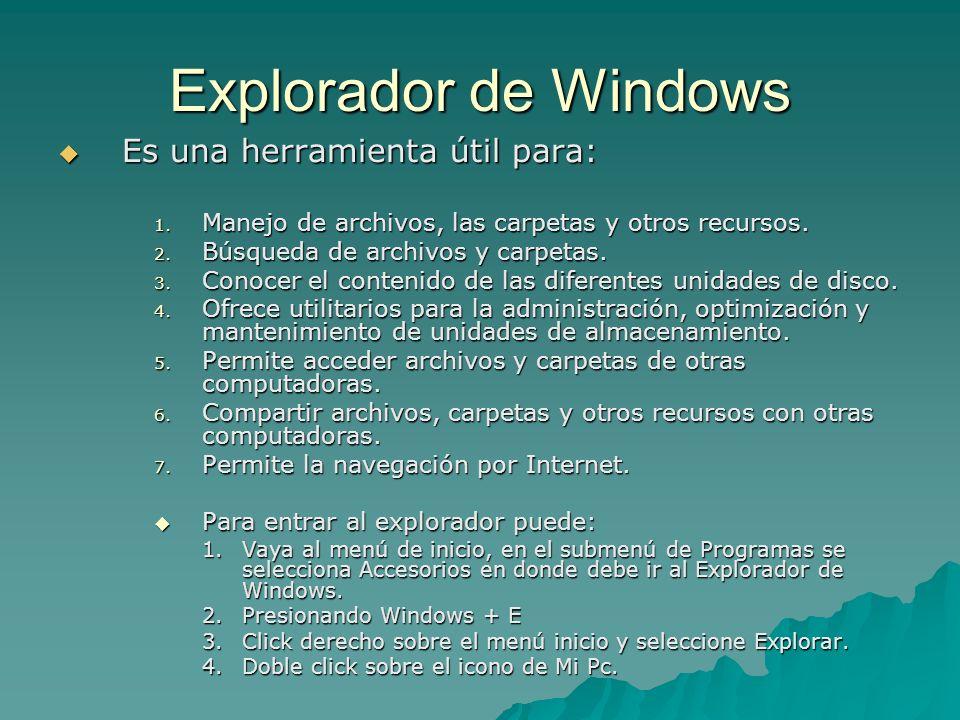 Explorador de Windows Es una herramienta útil para: Es una herramienta útil para: 1. Manejo de archivos, las carpetas y otros recursos. 2. Búsqueda de