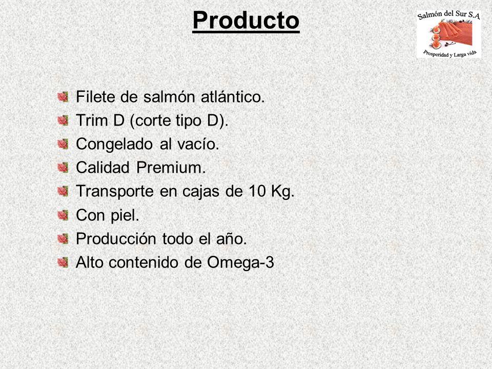 Filete de salmón atlántico. Trim D (corte tipo D). Congelado al vacío. Calidad Premium. Transporte en cajas de 10 Kg. Con piel. Producción todo el año