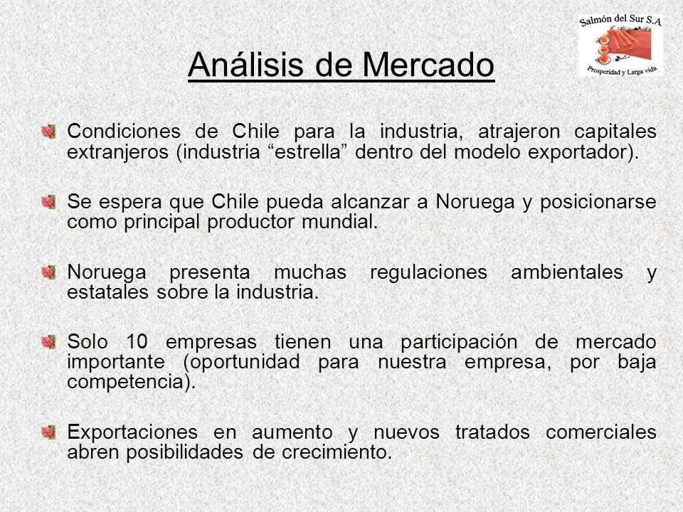 Análisis de Mercado Condiciones de Chile para la industria, atrajeron capitales extranjeros (industria estrella dentro del modelo exportador). Se espe