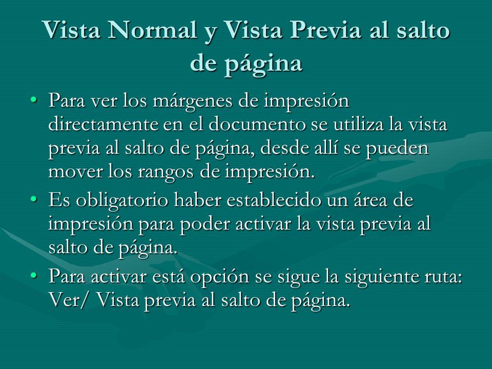 Vista Normal y Vista Previa al salto de página Para ver los márgenes de impresión directamente en el documento se utiliza la vista previa al salto de