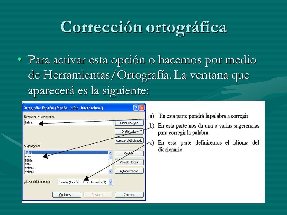 Corrección ortográfica Para activar esta opción o hacemos por medio de Herramientas/Ortografía. La ventana que aparecerá es la siguiente:Para activar