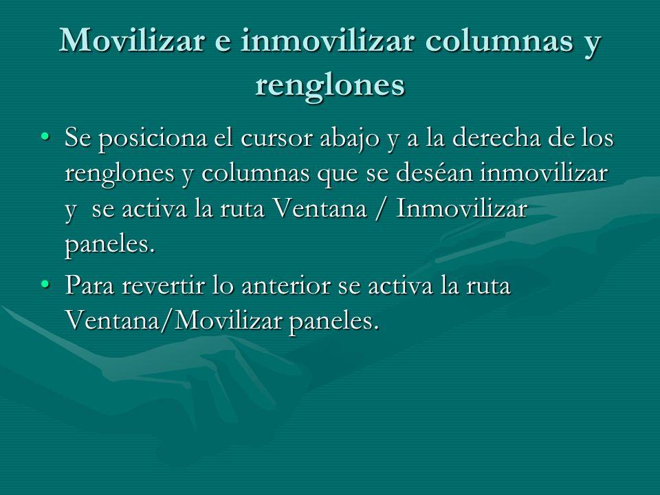 Movilizar e inmovilizar columnas y renglones Se posiciona el cursor abajo y a la derecha de los renglones y columnas que se deséan inmovilizar y se ac