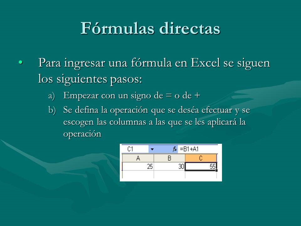 Fórmulas directas Para ingresar una fórmula en Excel se siguen los siguientes pasos:Para ingresar una fórmula en Excel se siguen los siguientes pasos: