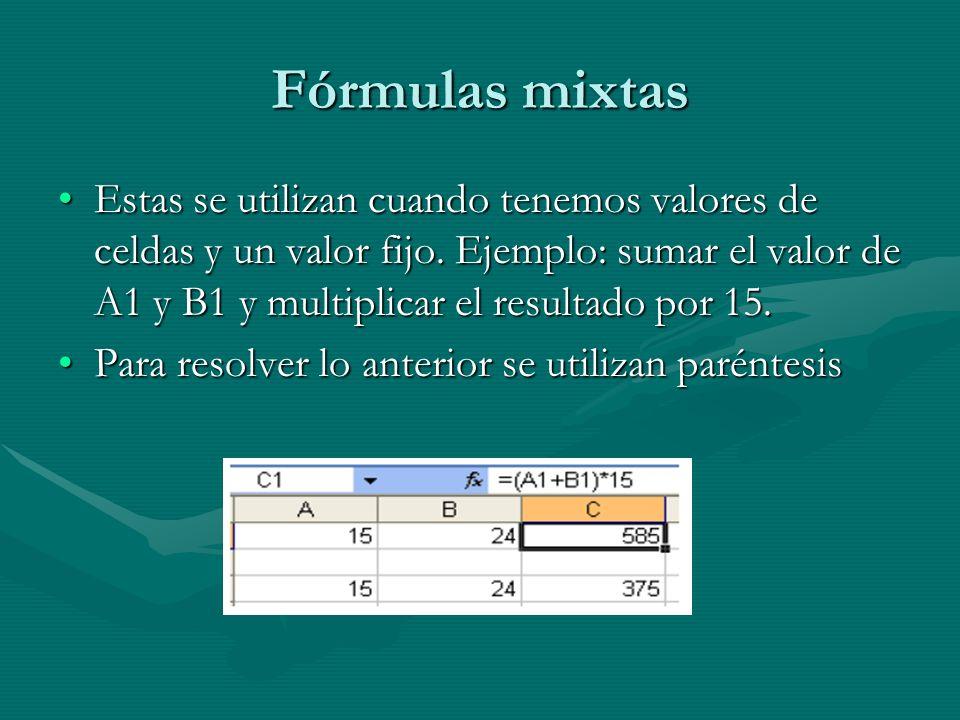 Fórmulas mixtas Estas se utilizan cuando tenemos valores de celdas y un valor fijo. Ejemplo: sumar el valor de A1 y B1 y multiplicar el resultado por