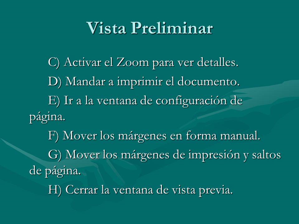 Vista Preliminar C) Activar el Zoom para ver detalles. D) Mandar a imprimir el documento. E) Ir a la ventana de configuración de página. F) Mover los