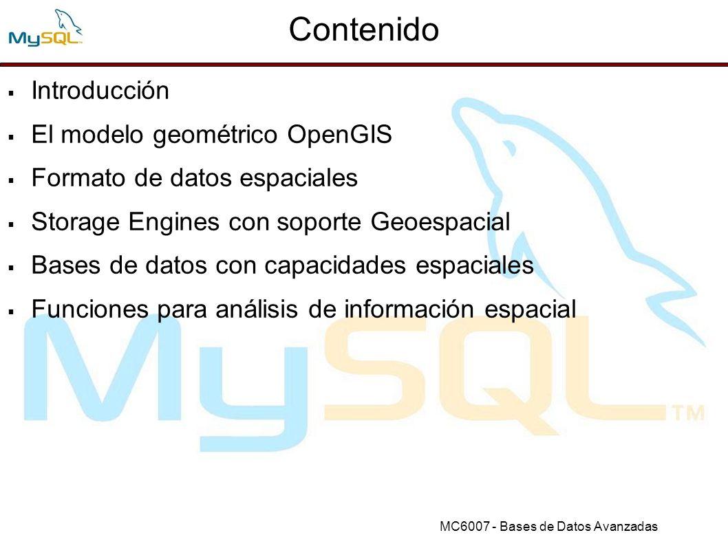 MC6007 - Bases de Datos Avanzadas Más Info Documentación MySQL: http://dev.mysql.com/doc/http://dev.mysql.com/doc/ Foro MySQL: http://forums.mysql.com/list.php?23http://forums.mysql.com/list.php?23 JCCs SQL Standars Page http://www.jcc.com/sql.htmhttp://www.jcc.com/sql.htm GeoFlashExplorer: http://www.theurbanexplorer.comhttp://www.theurbanexplorer.com