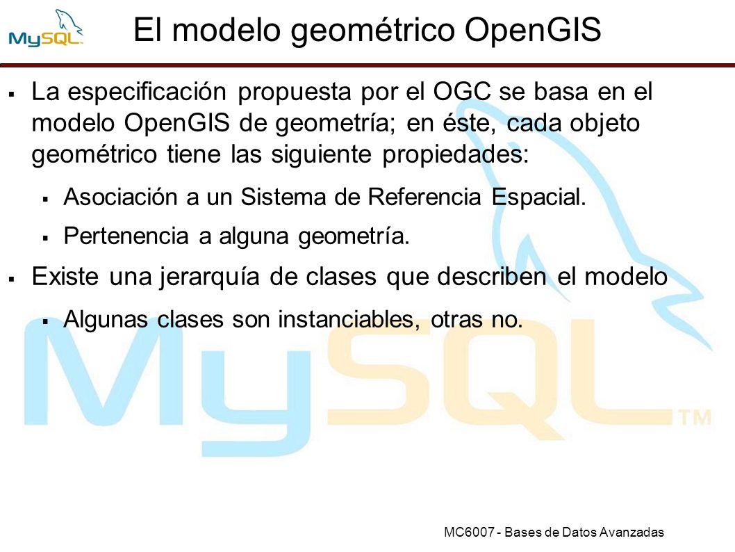 MC6007 - Bases de Datos Avanzadas Funciones LineString (3) StartPoint(ls) StartPoint(ls) mysql> SET @ls = LineString(1 1,2 2,3 3) ; mysql> SELECT AsText(StartPoint(GeomFromText(@ls))); +-------------------------------------------------------+ | AsText(StartPoint(GeomFromText(@ls))) | +-------------------------------------------------------+ | POINT(1 1) | +-------------------------------------------------------+
