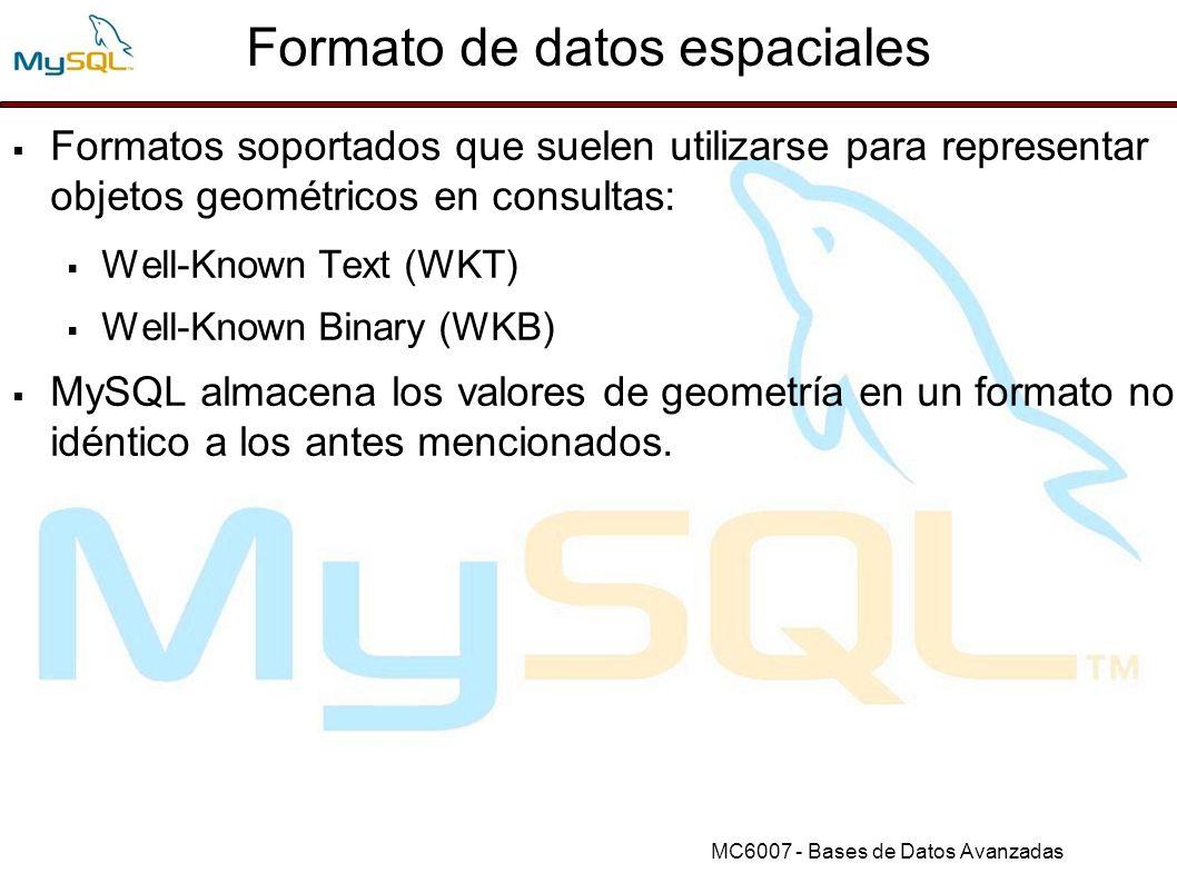 MC6007 - Bases de Datos Avanzadas Analizando información espacial Funciones de conversión de formato: AsBinary(g): convierte de formato interno a WKB AsText(g): convierte de formato interno a WKT GeomFromText(wkt[,srid]): convertir de WKT a formato interno GeomFromWKB(wkb[,srid]): convertir de WKB a formato interno.