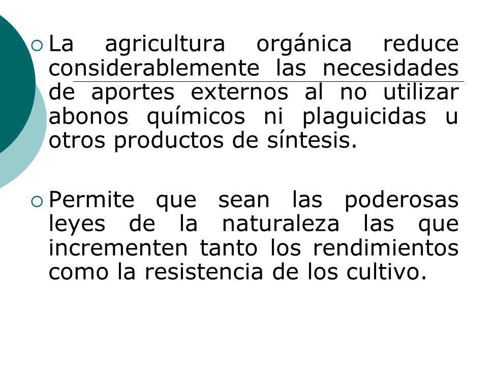 La agricultura orgánica reduce considerablemente las necesidades de aportes externos al no utilizar abonos químicos ni plaguicidas u otros productos d