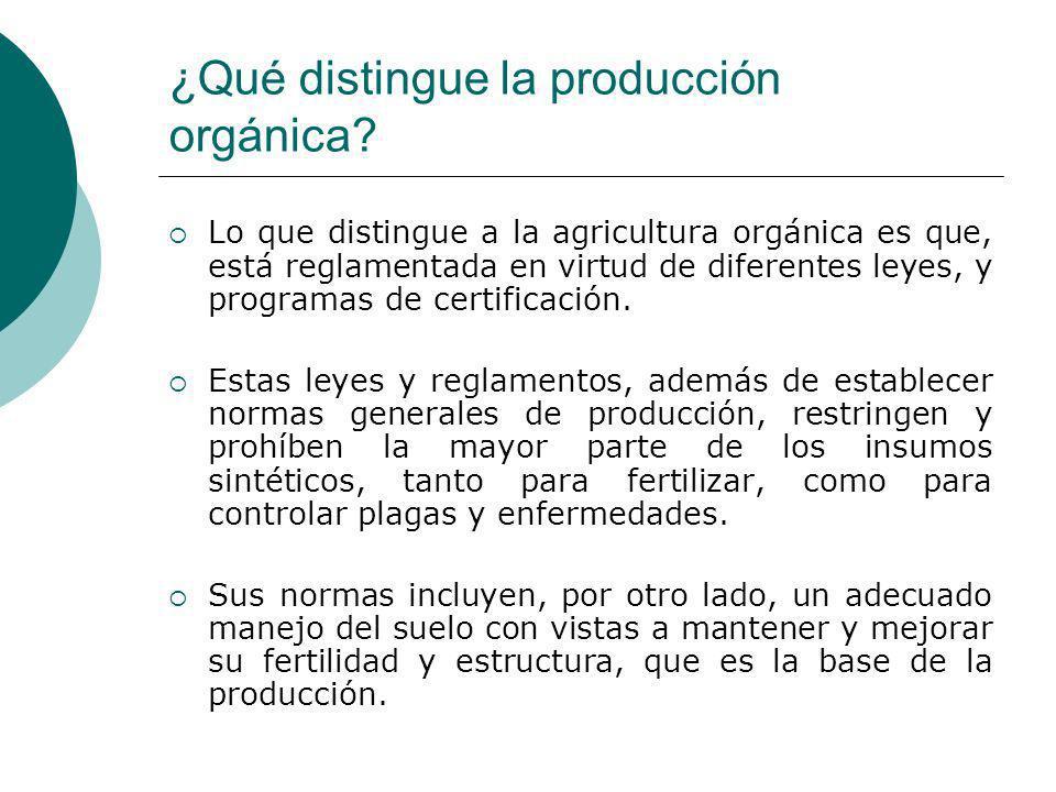 ¿Qué distingue la producción orgánica? Lo que distingue a la agricultura orgánica es que, está reglamentada en virtud de diferentes leyes, y programas