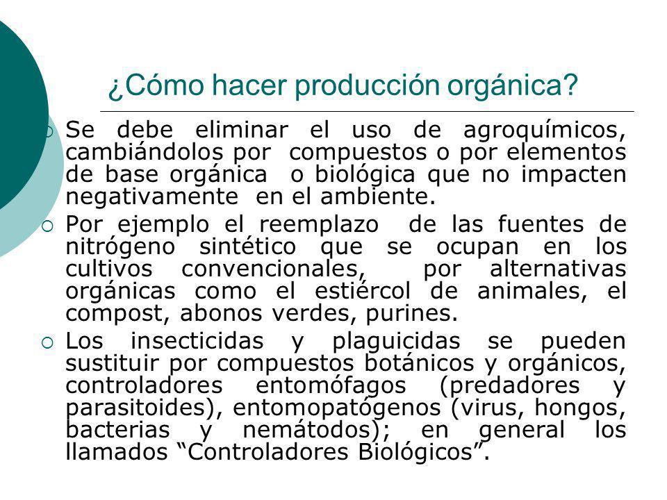 ¿Cómo hacer producción orgánica? Se debe eliminar el uso de agroquímicos, cambiándolos por compuestos o por elementos de base orgánica o biológica que
