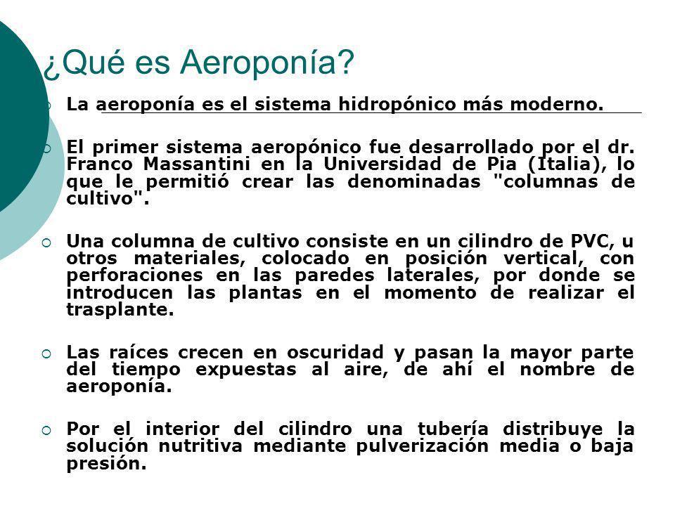 ¿Qué es Aeroponía? La aeroponía es el sistema hidropónico más moderno. El primer sistema aeropónico fue desarrollado por el dr. Franco Massantini en l