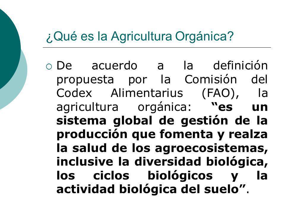 ¿Qué es la Agricultura Orgánica? De acuerdo a la definición propuesta por la Comisión del Codex Alimentarius (FAO), la agricultura orgánica: es un sis