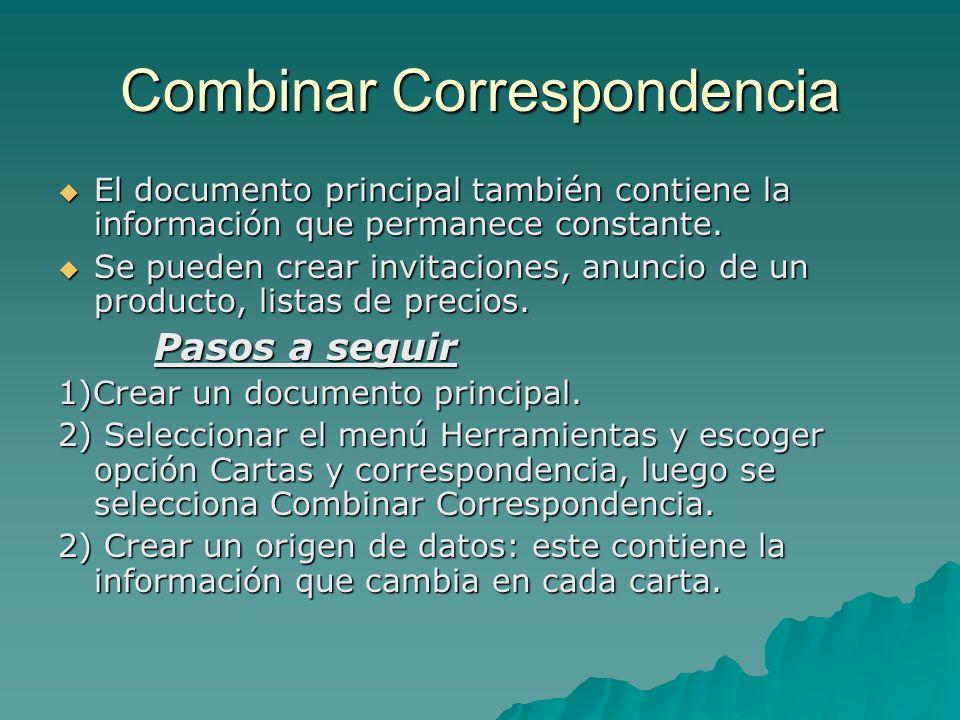 Combinar Correspondencia El documento principal también contiene la información que permanece constante. El documento principal también contiene la in