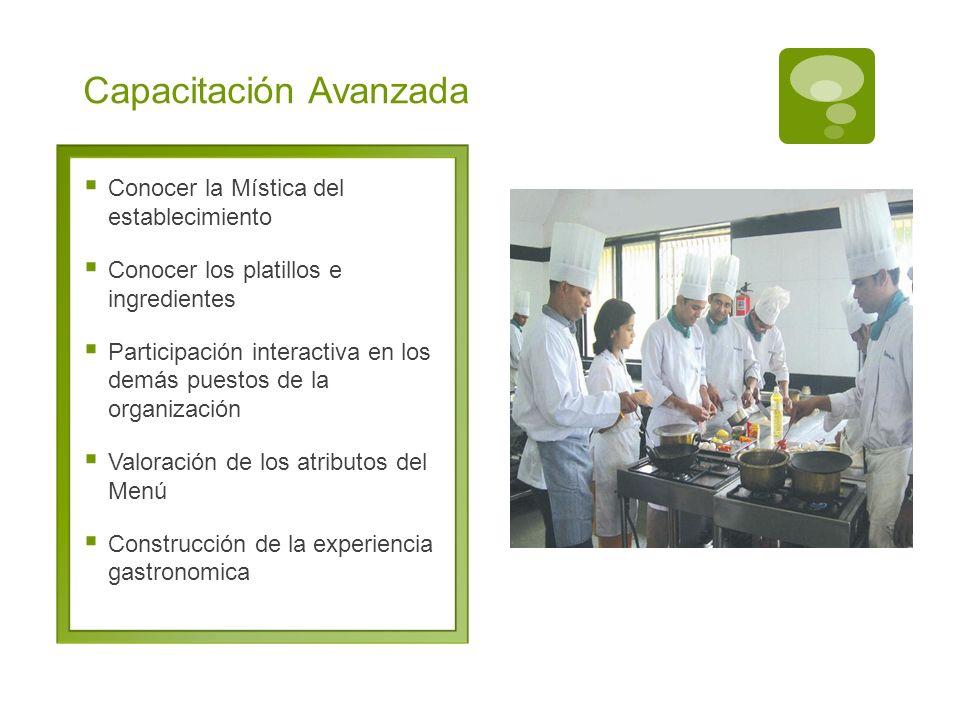 Capacitación Avanzada Conocer la Mística del establecimiento Conocer los platillos e ingredientes Participación interactiva en los demás puestos de la