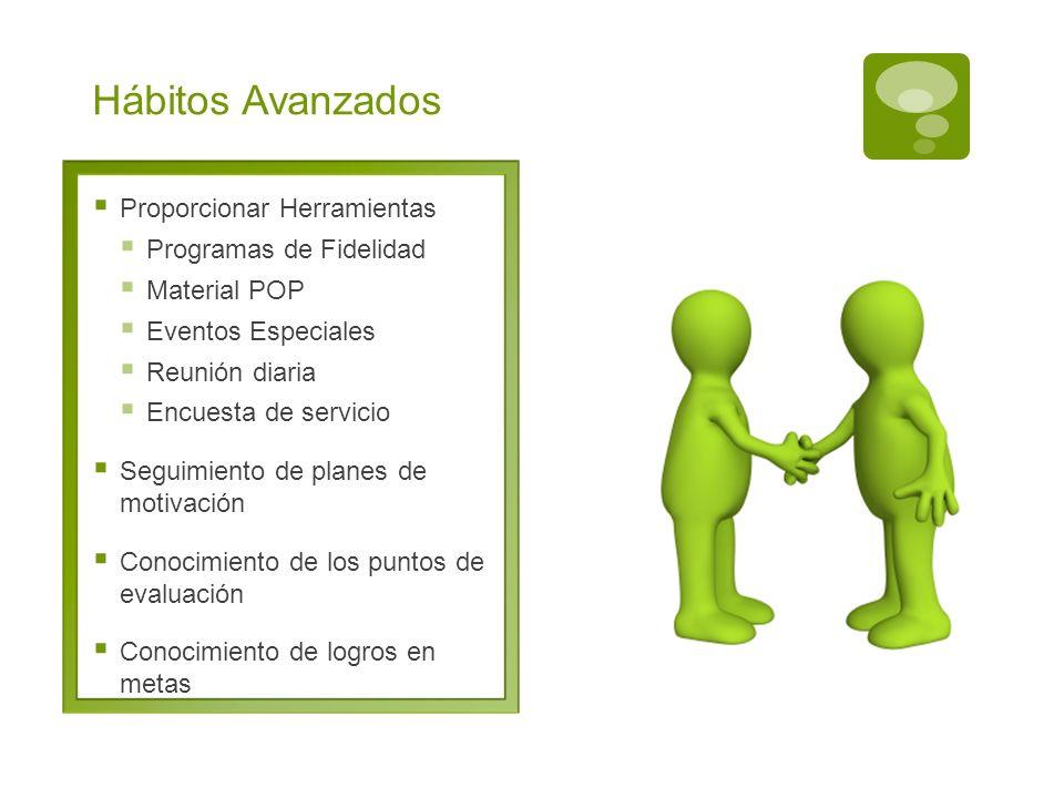 Hábitos Avanzados Proporcionar Herramientas Programas de Fidelidad Material POP Eventos Especiales Reunión diaria Encuesta de servicio Seguimiento de