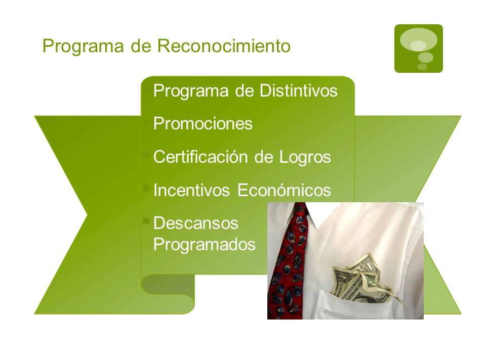 Programa de Reconocimiento Programa de Distintivos Promociones Certificación de Logros Incentivos Económicos Descansos Programados
