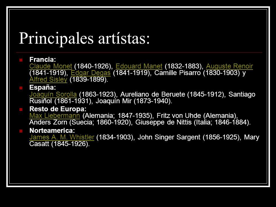 Principales artístas: Francia: Claude Monet (1840-1926), Edouard Manet (1832-1883), Auguste Renoir (1841-1919), Edgar Degas (1841-1919), Camille Pisar