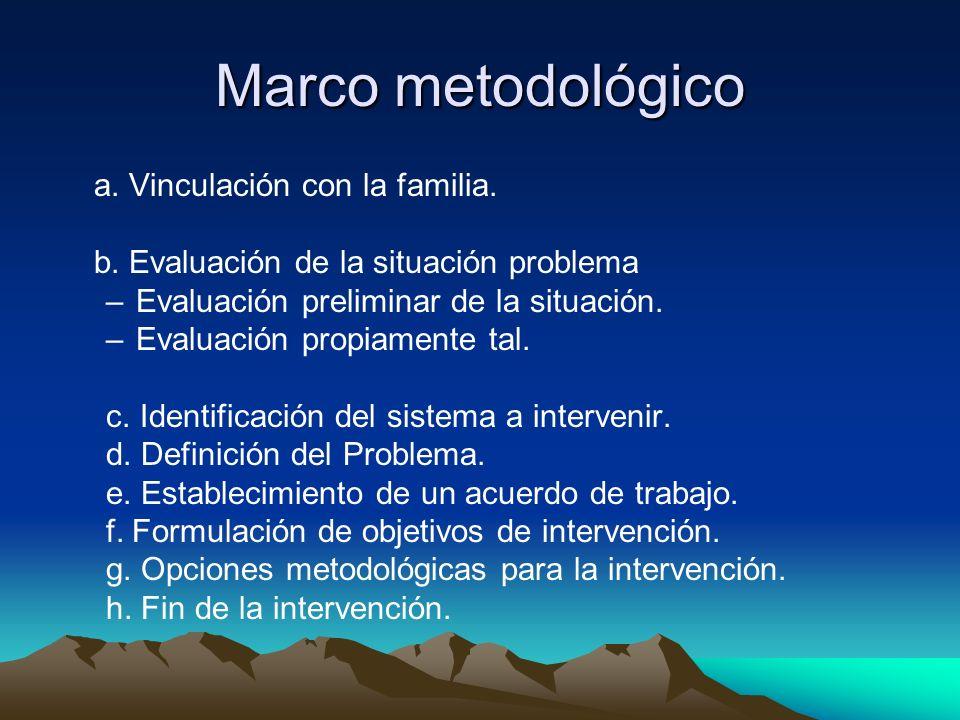 Marco metodológico a. Vinculación con la familia. b. Evaluación de la situación problema –Evaluación preliminar de la situación. –Evaluación propiamen