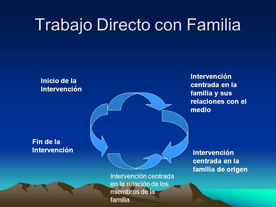 Trabajo Directo con Familia Intervención centrada en la familia y sus relaciones con el medio Intervención centrada en la familia de origen Intervenci