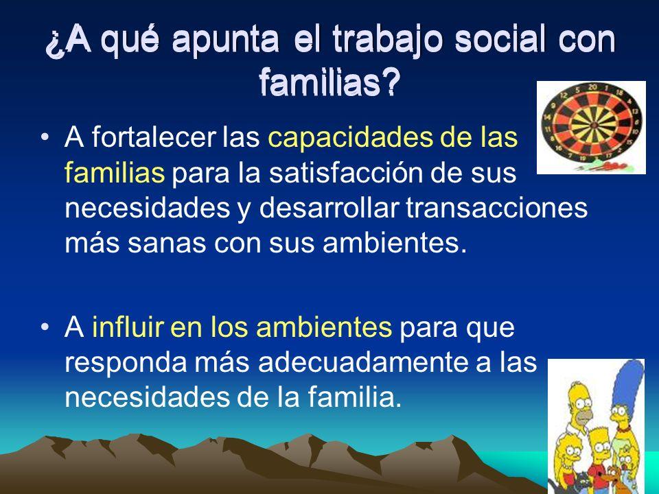 ¿A qué apunta el trabajo social con familias? A fortalecer las capacidades de las familias para la satisfacción de sus necesidades y desarrollar trans