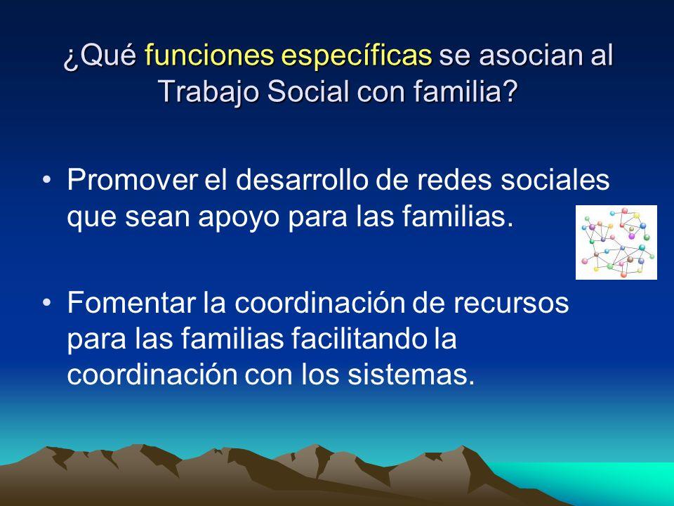 ¿Qué funciones específicas se asocian al Trabajo Social con familia? Promover el desarrollo de redes sociales que sean apoyo para las familias. Foment