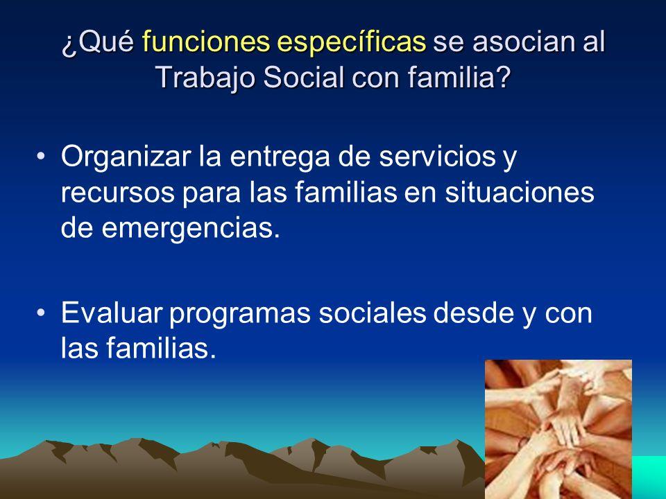 ¿Qué funciones específicas se asocian al Trabajo Social con familia? Organizar la entrega de servicios y recursos para las familias en situaciones de