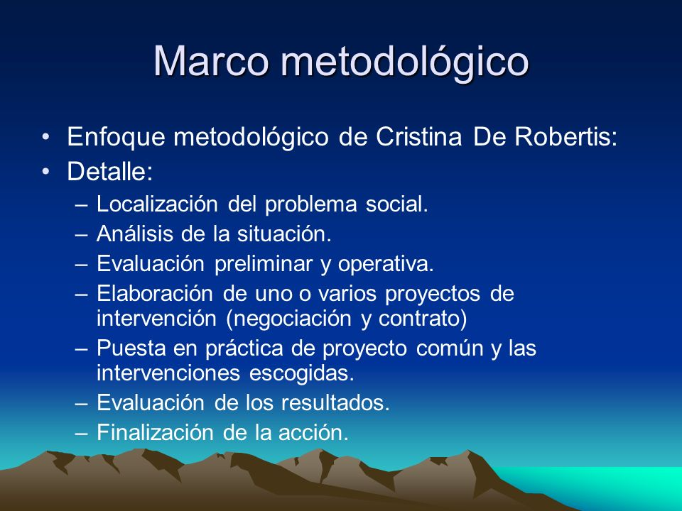 Marco metodológico Enfoque metodológico de Cristina De Robertis: Detalle: –Localización del problema social. –Análisis de la situación. –Evaluación pr