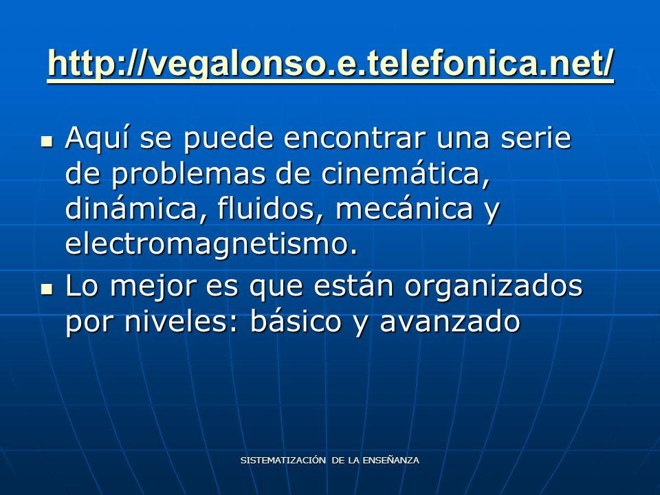 SISTEMATIZACIÓN DE LA ENSEÑANZA http://vegalonso.e.telefonica.net/ Aquí se puede encontrar una serie de problemas de cinemática, dinámica, fluidos, mecánica y electromagnetismo.