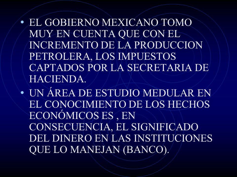 EL GOBIERNO MEXICANO TOMO MUY EN CUENTA QUE CON EL INCREMENTO DE LA PRODUCCION PETROLERA, LOS IMPUESTOS CAPTADOS POR LA SECRETARIA DE HACIENDA. UN ÁRE