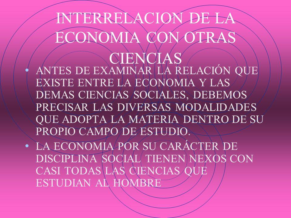 INTERRELACION DE LA ECONOMIA CON OTRAS CIENCIAS ANTES DE EXAMINAR LA RELACIÓN QUE EXISTE ENTRE LA ECONOMIA Y LAS DEMAS CIENCIAS SOCIALES, DEBEMOS PREC