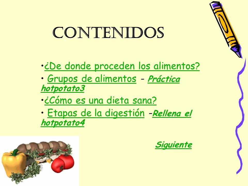 contenidos ¿De donde proceden los alimentos? Grupos de alimentos - Práctica hotpotato3Grupos de alimentos Práctica hotpotato3 ¿Cómo es una dieta sana?