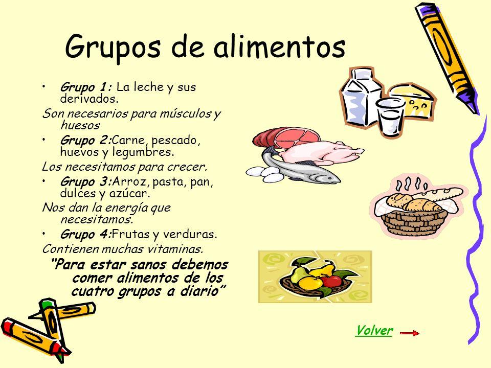 Grupos de alimentos Grupo 1: La leche y sus derivados. Son necesarios para músculos y huesos Grupo 2:Carne, pescado, huevos y legumbres. Los necesitam