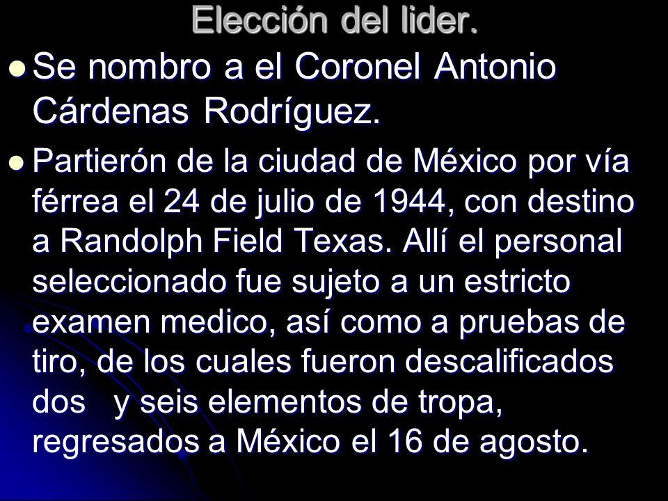 Elección del lider. Se nombro a el Coronel Antonio Cárdenas Rodríguez. Se nombro a el Coronel Antonio Cárdenas Rodríguez. Partierón de la ciudad de Mé