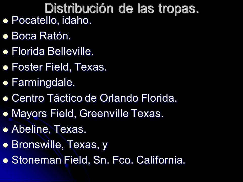 Distribución de las tropas. Pocatello, idaho. Pocatello, idaho. Boca Ratón. Boca Ratón. Florida Belleville. Florida Belleville. Foster Field, Texas. F