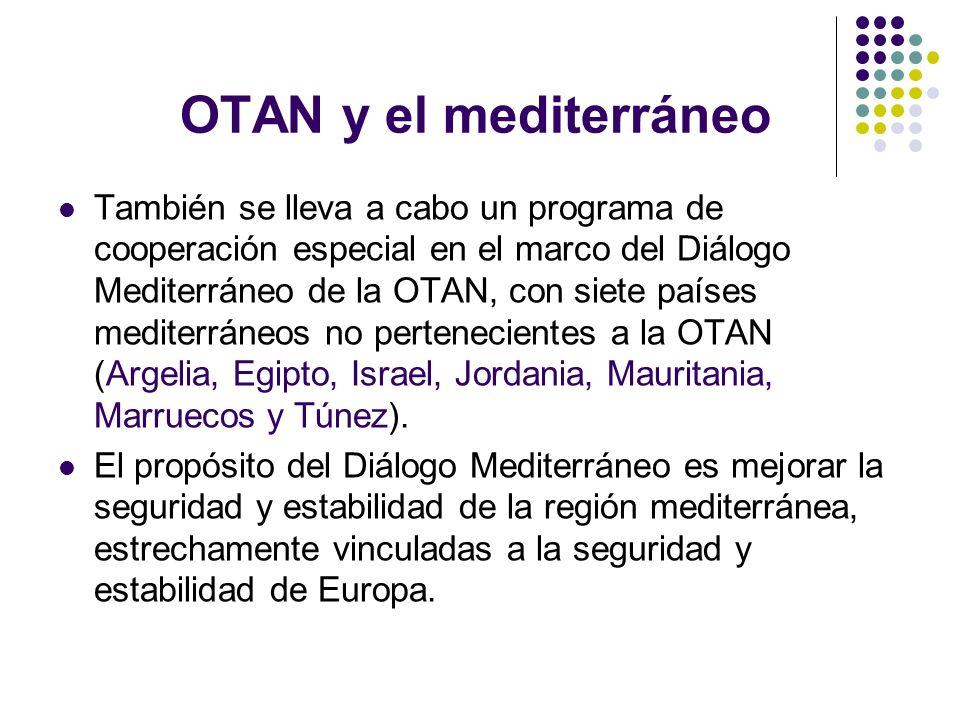 OTAN y el mediterráneo También se lleva a cabo un programa de cooperación especial en el marco del Diálogo Mediterráneo de la OTAN, con siete países m