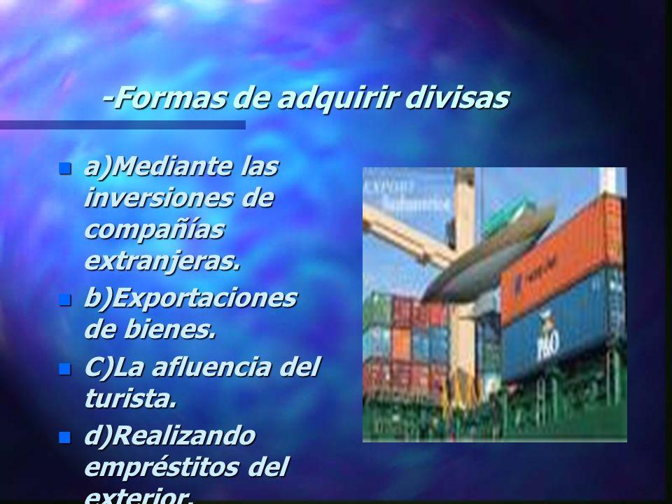 -Formas de adquirir divisas n a)Mediante las inversiones de compañías extranjeras.